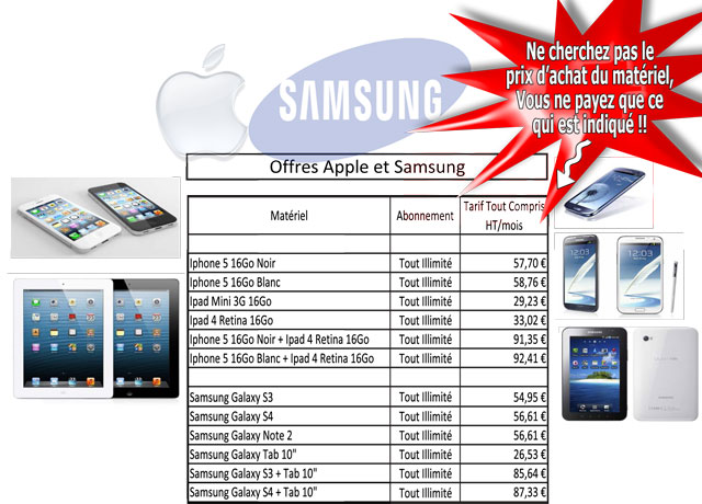 Offre Clients Smartphones Tablettes Apple Samsung Sony BlackBerry