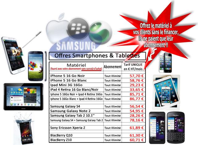 Offre Partenaires Smartphones Tablettes Apple Samsung Sony BlackBerry