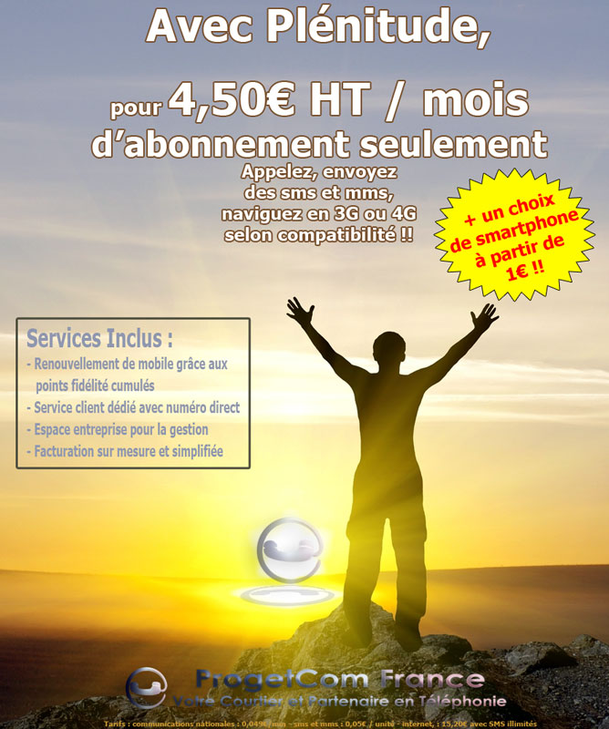 Offre Plénitude 4,50€ HT/mois d'abonnement
