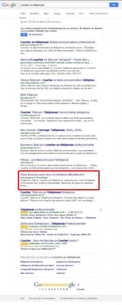 ProgetCom en 1ère page sur Google pour Courtier en Téléphonie